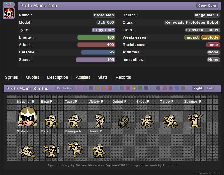 Proto Man's elemental core armors